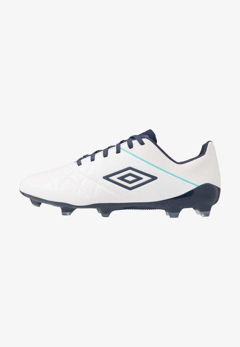 Umbro - MEDUSÆ III PRO FG - Moulded stud football boots - white/medieval blue/blue radiance