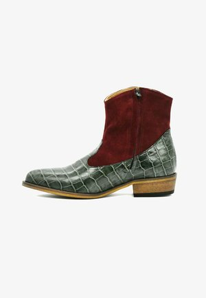 HAND-MADE  - Cowboy/biker ankle boot - green bordeaux croco