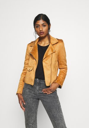 ONLSHERRY  BONDED - Faux leather jacket - pumpkin spice