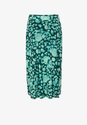 A-line skirt - dark green aop