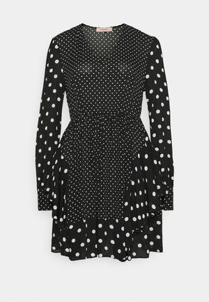Day dress - patch pois nero/neve
