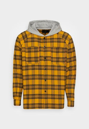 HOODED SHIRT - Shirt - yellow/grey marl