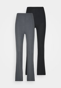 Missguided - FLARE TROUSERS 2 PACK - Kalhoty - black/ dark grey - 0