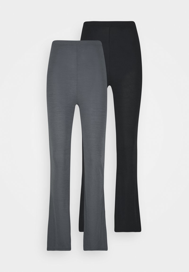 Missguided - FLARE TROUSERS 2 PACK - Kalhoty - black/ dark grey