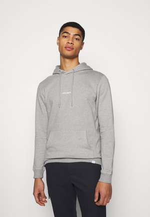 LENS HOODIE - Luvtröja - light grey melange/white