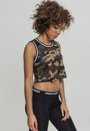 LADIES CROPPED COLLEGE  - Top - woodcamo/blk/wht