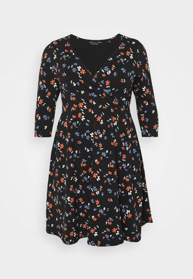 CURVE WRAP SLEEVE COBALT SPOT DRESS - Jerseykjole - multi
