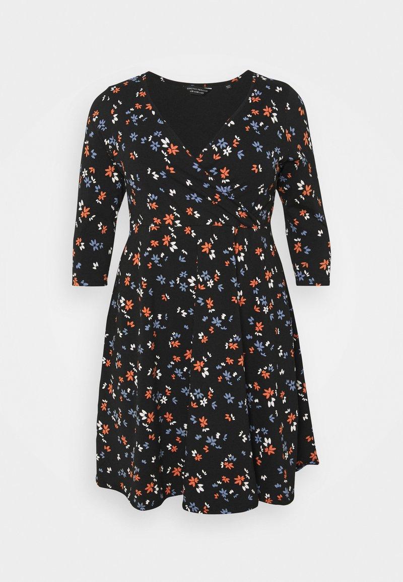 Dorothy Perkins Curve - CURVE WRAP SLEEVE COBALT SPOT DRESS - Jerseykjole - multi