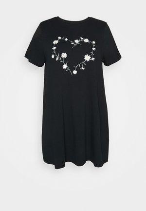 DAISY HEART - T-shirt imprimé - black