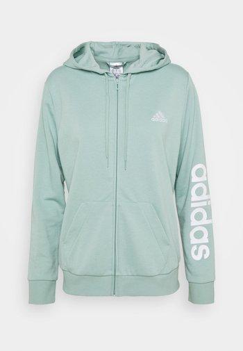 Zip-up hoodie - haze green/white