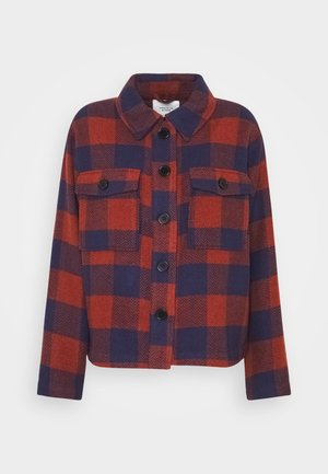 JDYUBBA CHECK JACKET - Korte jassen - russet brown/estate blue