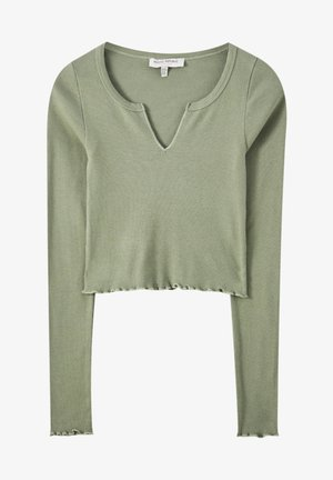 MIT SCHLITZ - Long sleeved top - mottled dark green