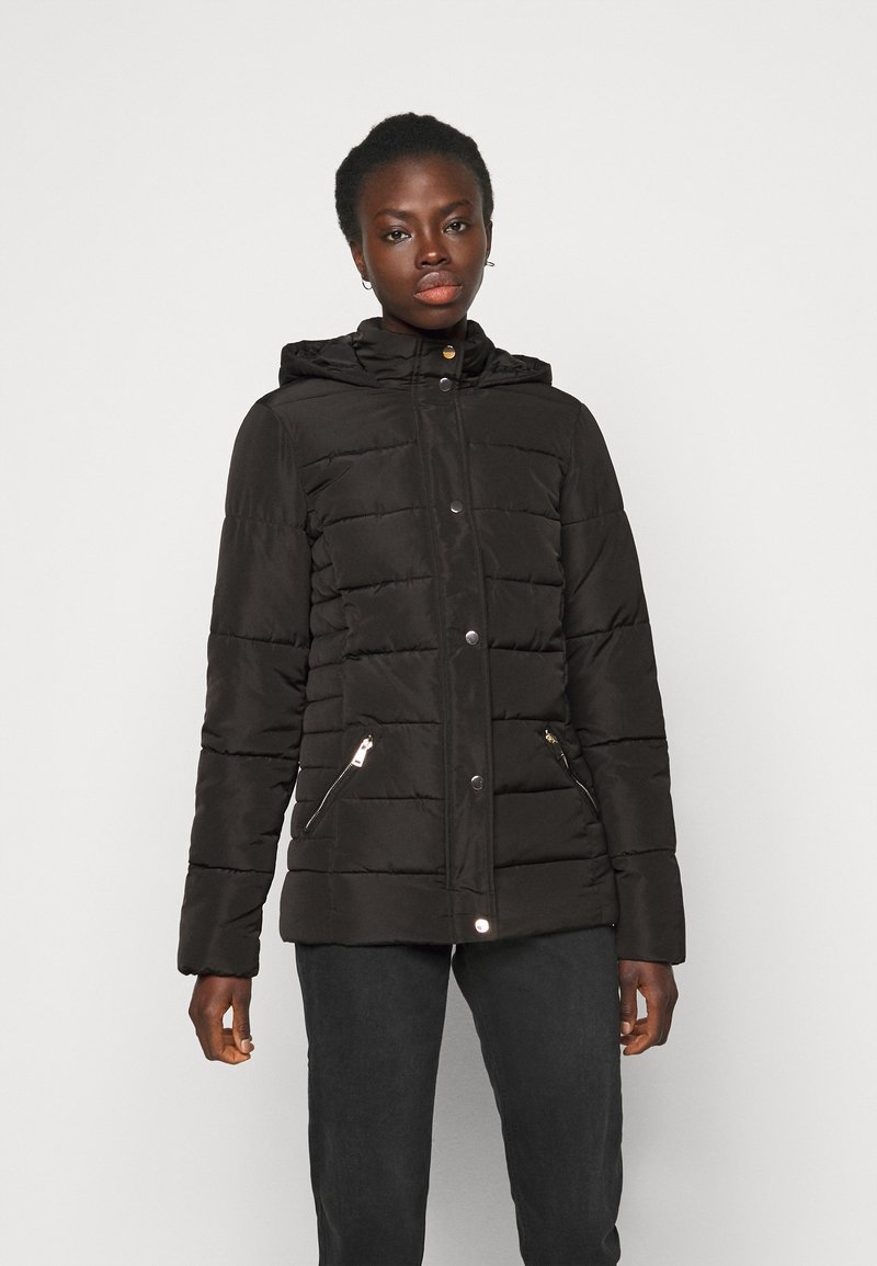 Dorothy Perkins Tall - GLOSSY HOODED JACKET - Winter jacket - black