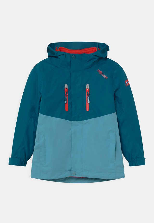 BRYGGEN 2-IN-1 UNISEX  - Hardshellová bunda - petrol/dolphin blue/spicy red