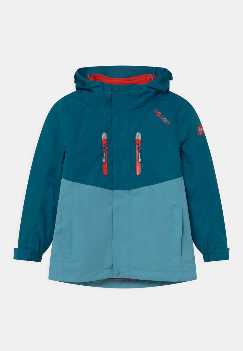 TrollKids - BRYGGEN 2-IN-1 UNISEX  - Hardshellová bunda - petrol/dolphin blue/spicy red