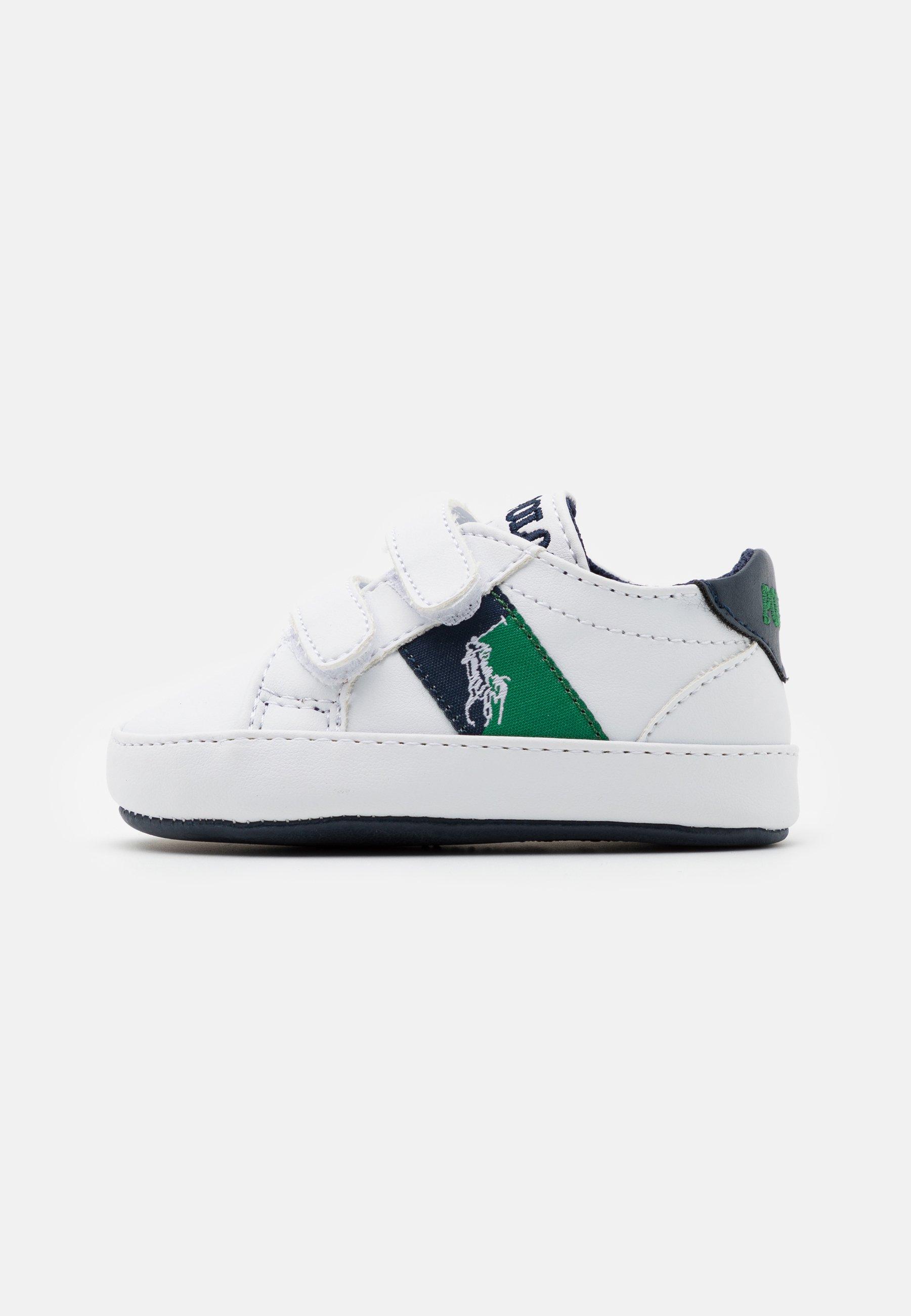 Tecnologia vertice Di  Polo Ralph Lauren ORMOND LAYETTE - First shoes - white smooth/navy/green/white  - Zalando.co.uk
