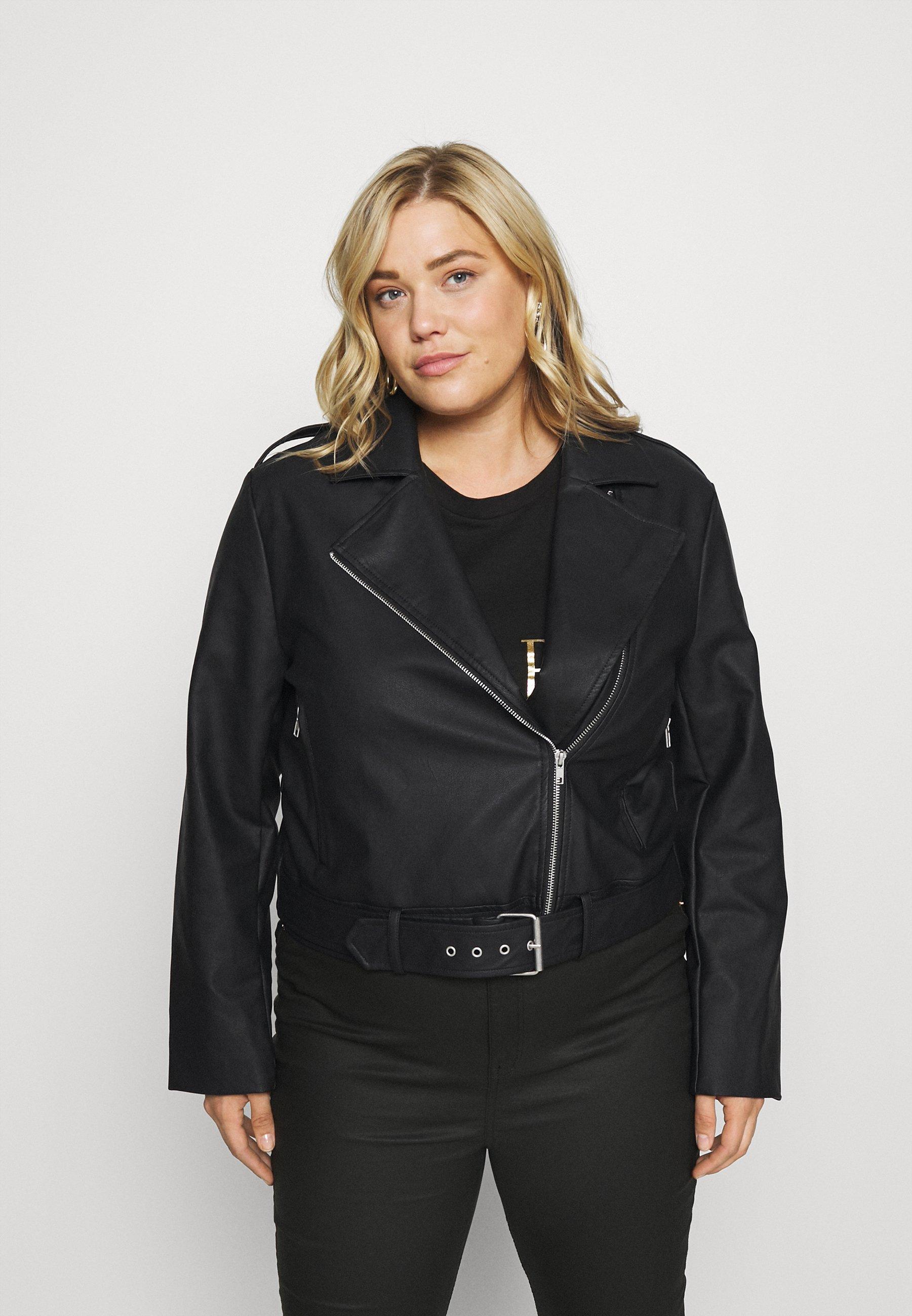 Women BOXY BELTED - Faux leather jacket