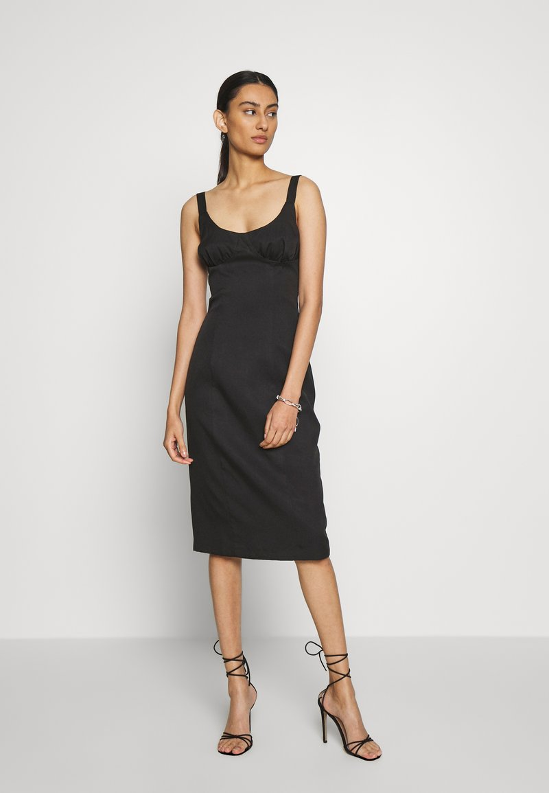 Third Form - VENTURE GATHER BRA MIDI - Day dress - black