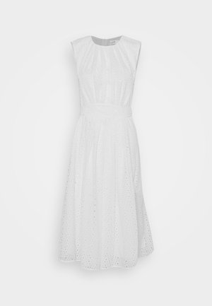 GATHERED FRONT BRODERIE ANGLAISE DRESS - Denní šaty - white