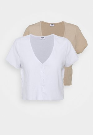 JANET BUTTON THROUGH SHORT SLEEVE 2 PACK - T-shirt con stampa - latte/white