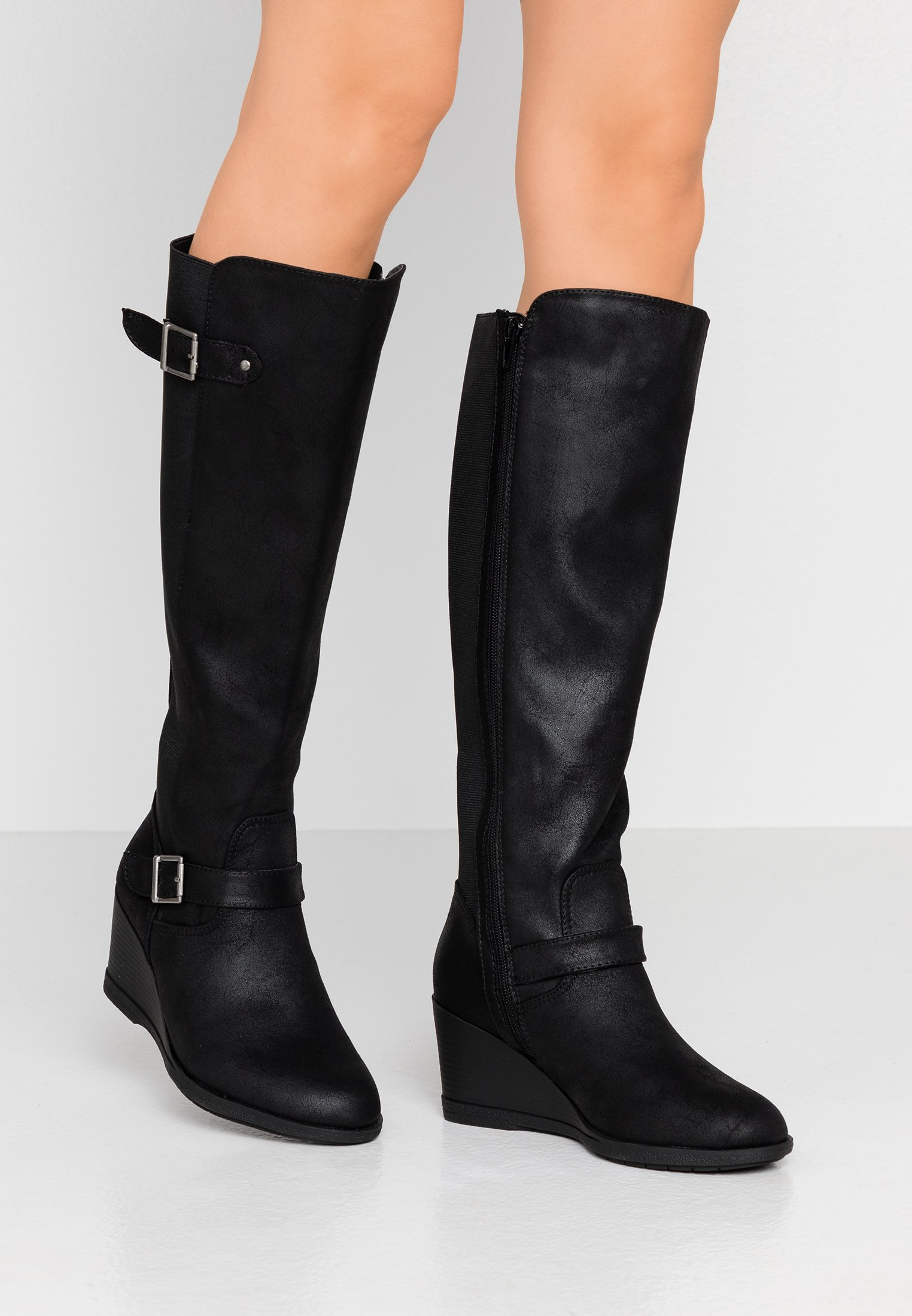 Simply Be WIDE FIT SALLY KNEE HIGH WEDGE BOOT Stövlar med
