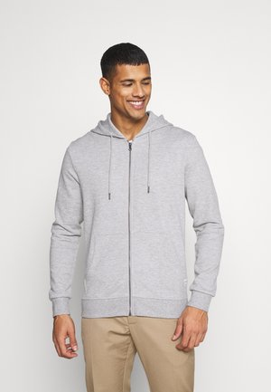 JJEBASIC ZIP HOOD - Huvtröja med dragkedja - light grey melange