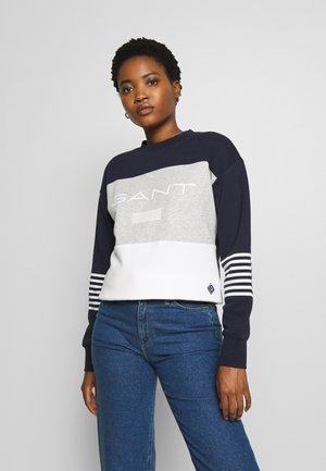 STRIPE NECK - Sweatshirt - evening blue