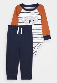 Carter's - KOALA STRIPE SET - Pantaloni sportivi - dark blue/brown - 0