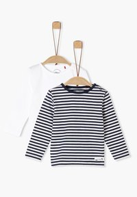 s.Oliver - 2 PACK  - Long sleeved top - white/navy stripes - 2