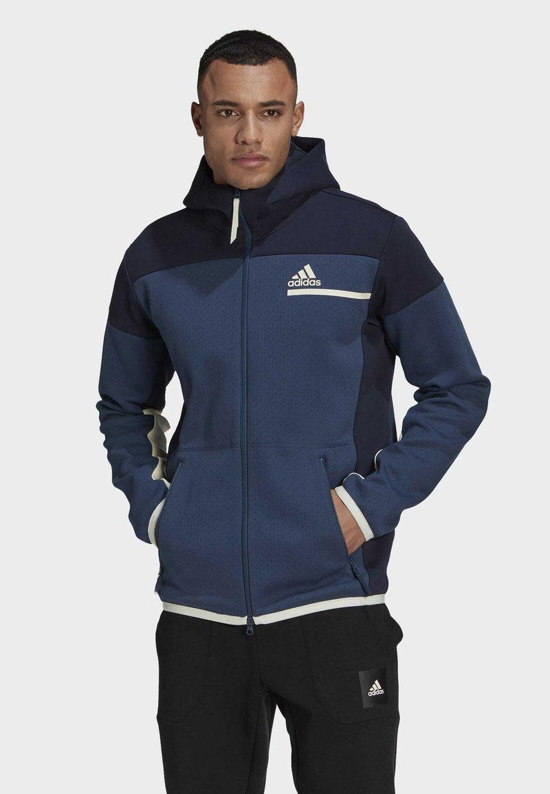 adidas Performance - Z.N.E HOODIE PRIMEGREEN HOODED TRACK TOP - Zip-up hoodie - blue