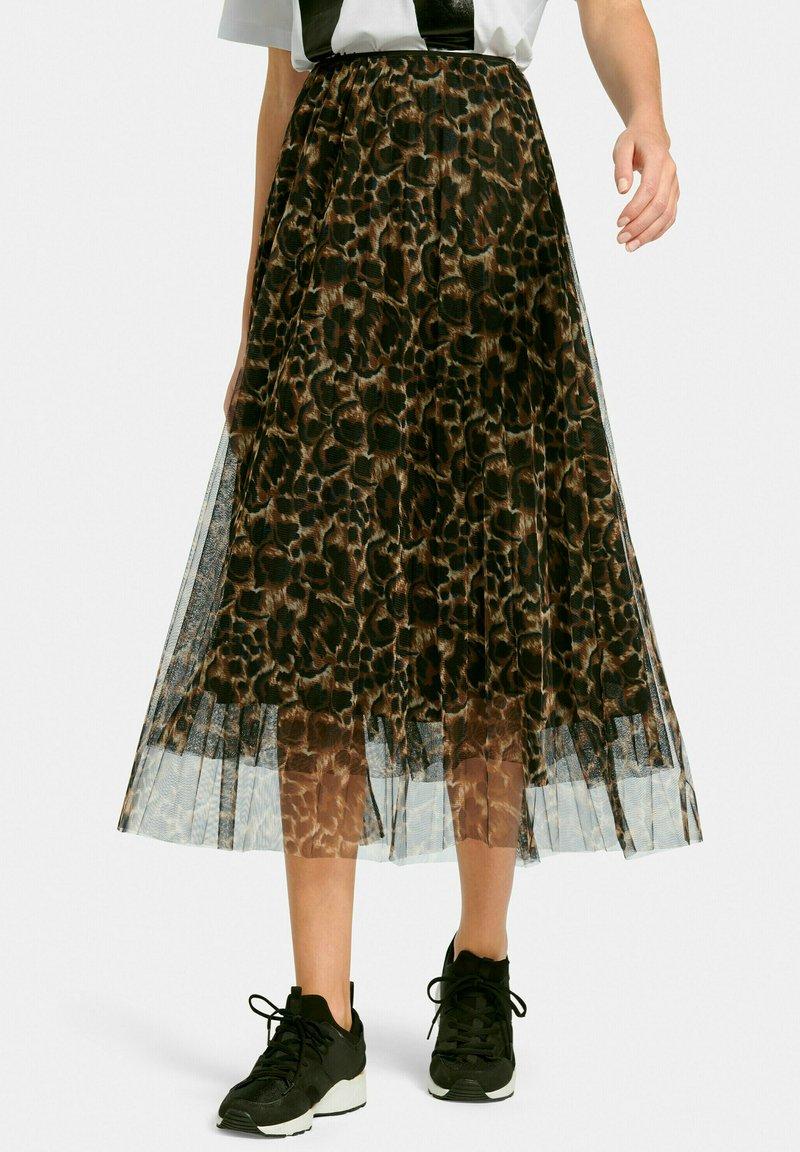 MARGITTES - A-line skirt - schwarz/multicolor