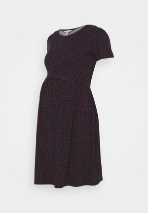 LIMBO - Jersey dress - navy blue base/red