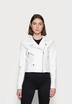 ONLENYA BIKER  - Faux leather jacket - cloud dancer