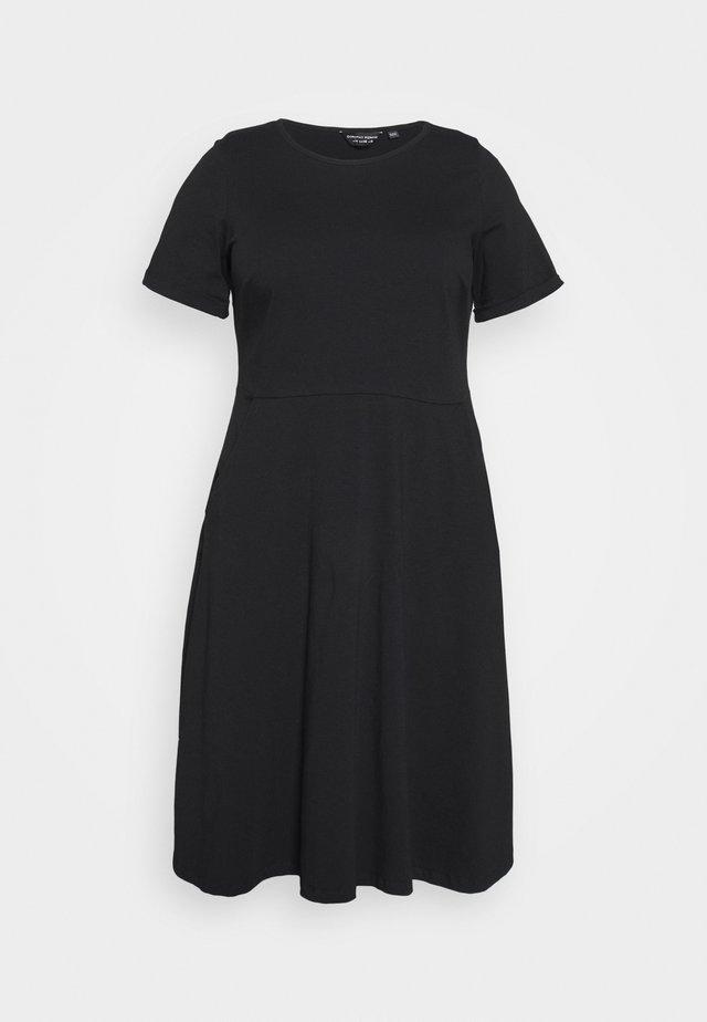 FLORAL DRESS - Jerseyjurk - black