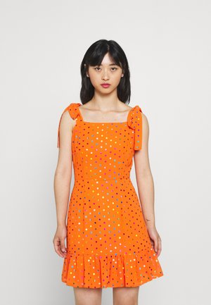 RAINBOW FOIL MINI DRESS - Day dress - orange