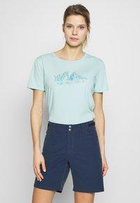Salewa - GRAPHIC TEE - Print T-shirt - canal blue melange - 0