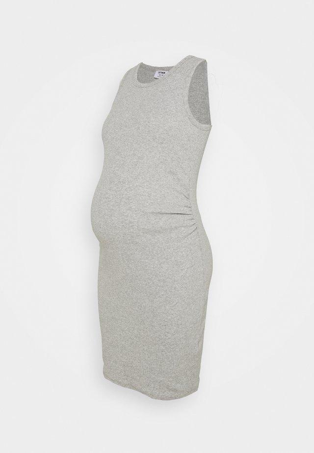 MATERNITY HIGH NECK MIDI DRESS - Žerzejové šaty - grey marle