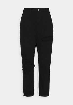 PLUS RIOT THIGH OPEN KNEE SLASH MOM - Jeans relaxed fit - black