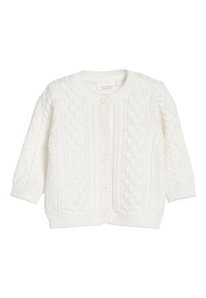 WHITE GOTS ORGANIC CABLE CARDIGAN (0MTHS-2YRS) - Cardigan - white