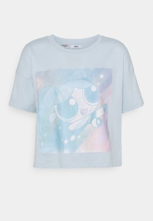 ONLPOWER PUFF CROPPED - Print T-shirt - blue/neon
