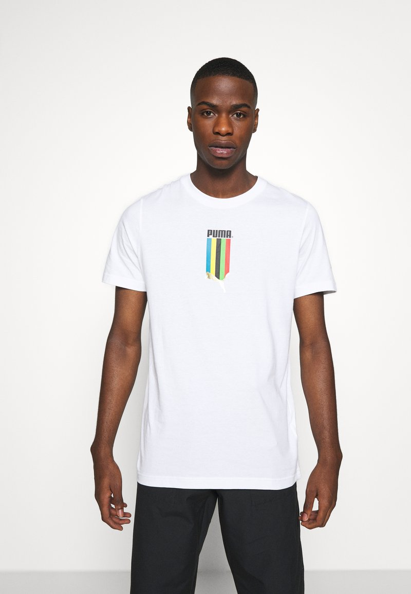 Puma - GRAPHIC TEE - Print T-shirt - white gold