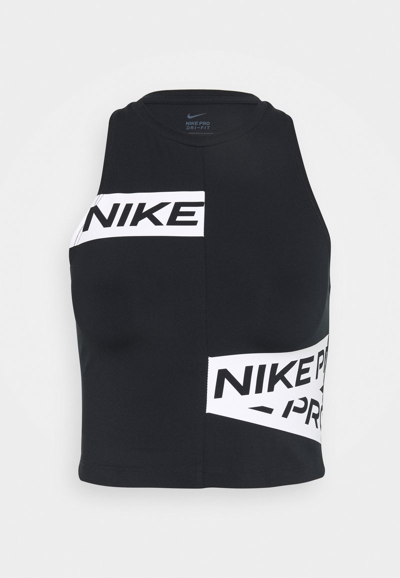 Nike Performance - CROP TROMPE - Sportshirt - black/white