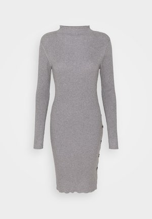 VISOLTO BUTTON DRESS - Shift dress - medium grey melange