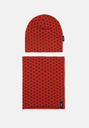 BEANIE SET UNISEX - Snood - orange/black