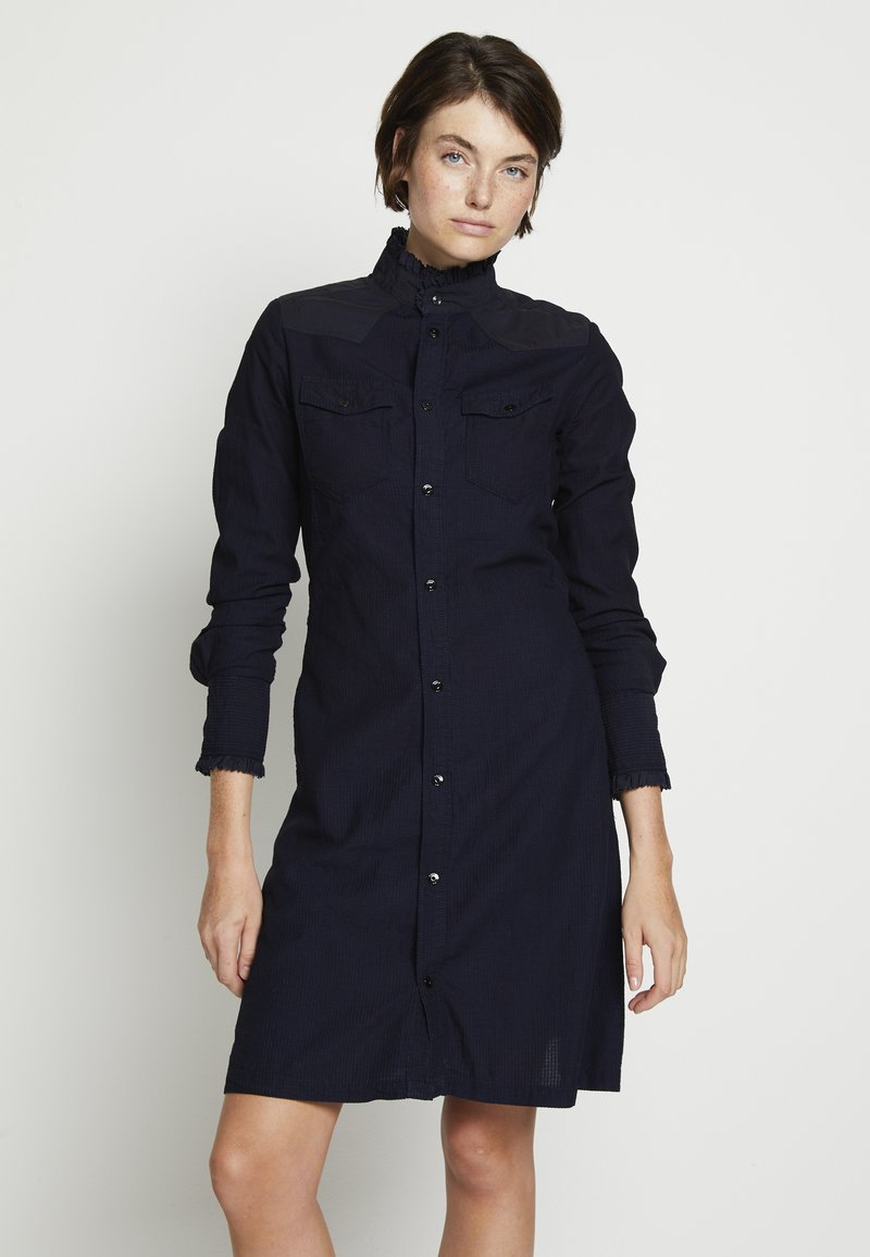 G-Star - WESTERN SLIM FRILL DRESS - Skjortekjole - rinsed