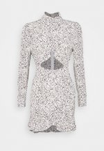 DALMATIAN HIGH NECK CUTOUT MINI DRESS - Etuikjole - white