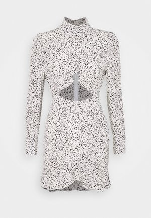 DALMATIAN HIGH NECK CUTOUT MINI DRESS - Tubino - white