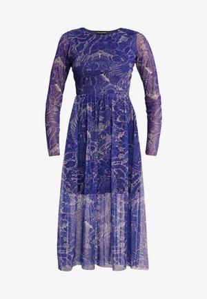 FLOWER PRINT MIDI SKATER DRESS - Kjole - blue