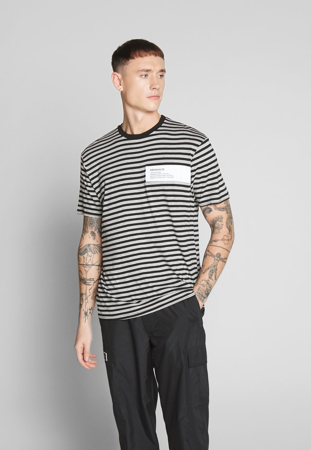 UNISEX BOX HORIZONTAL STRIPE - Printtipaita - black
