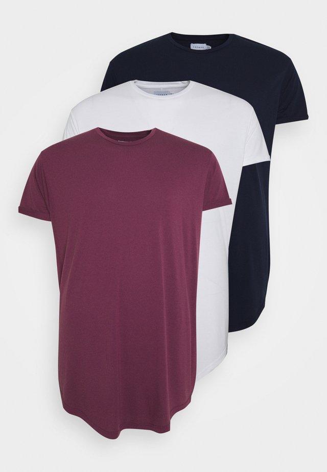 SCOTTY  3 PACK - Basic T-shirt - white/dark blue/burgundy